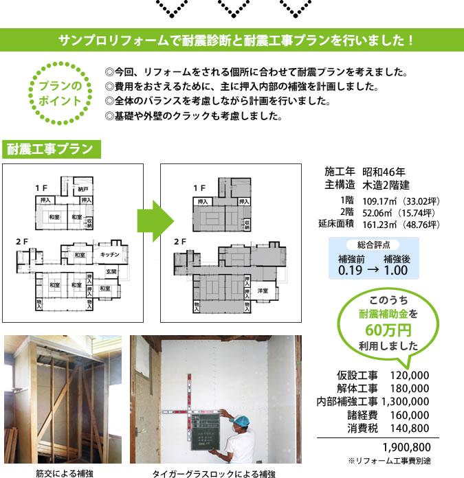 耐震リフォームをして、安心の家になりました。